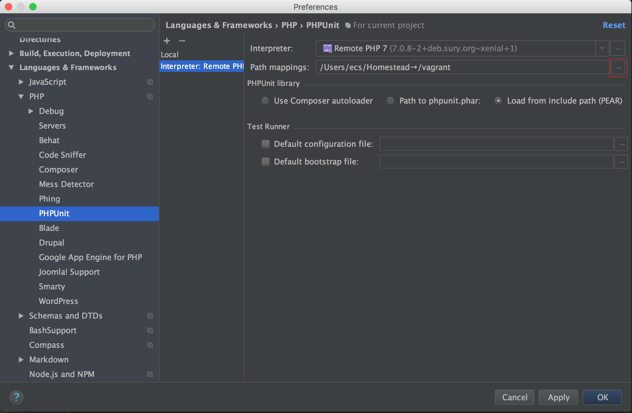 PhpStorm PHPUnit Path Mappings