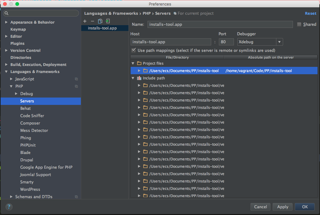 PhpStorm Server Path